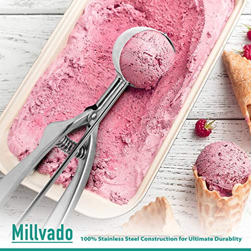 """Millvado Stainless Steel Ice Cream and Cookie Scoop 