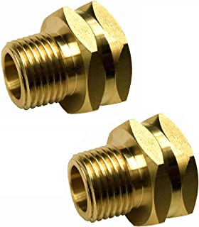 """summery life 3/4"""" GHT Female x 1/2"""" NPT Male Connector, GHT to NPT Adapter Brass Fitting, Garden Hose Adapter, Industrial Metal Brass Garden Hose to Pipe Fittings Connect (2 Pack)"""