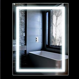 Miroir LED Lampe de Miroir Éclairage Salle de Bain Miroir Lumineux Solide de Verre Trempé 2 Tailles (500x700mm)