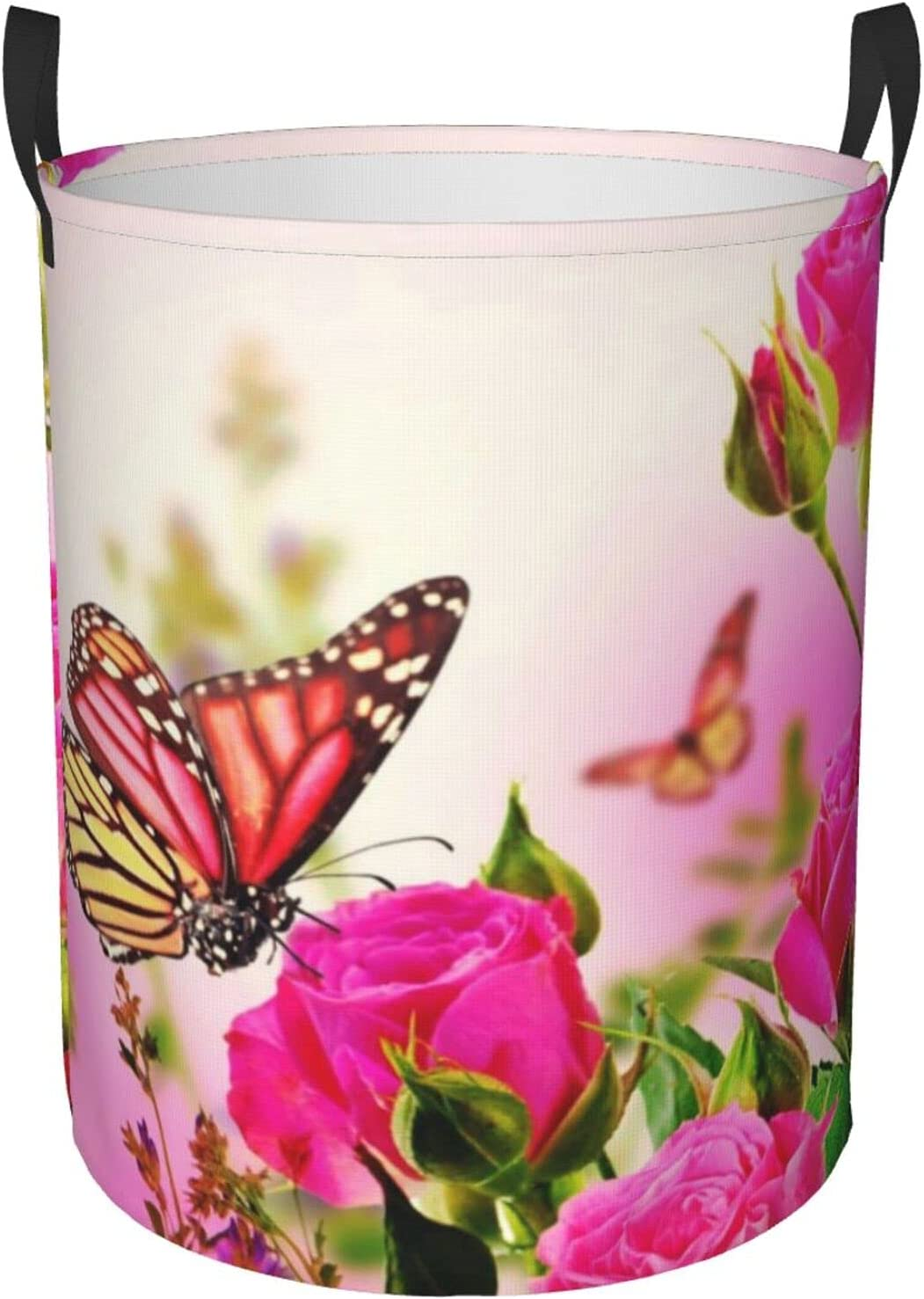 shipfree Flowers And Butterflies Circular Clothes Selling and selling Foldable Laundry Hamper