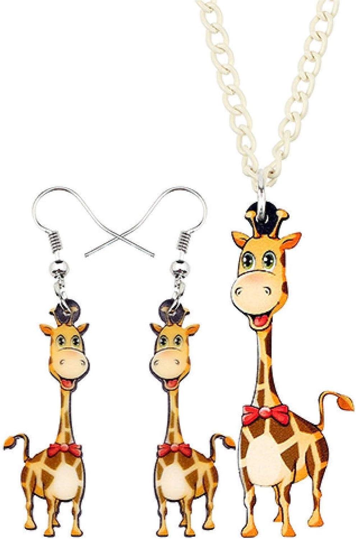 bayue Acrylic Happy Giraffe Jewelry Set Earring Pendant Pendant Necklace Pendant Anime Cartoon Animal Gift-Multicolor Zhaozb (Color : Multicolor)
