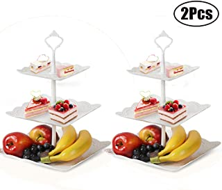 3-Tier Cake Stand, 2 Set of Square Platter for Fruits, Cakes, Desserts, Snack, Candy, Plastic Buffet Holder Serving for Birthday, Party, Wedding, White