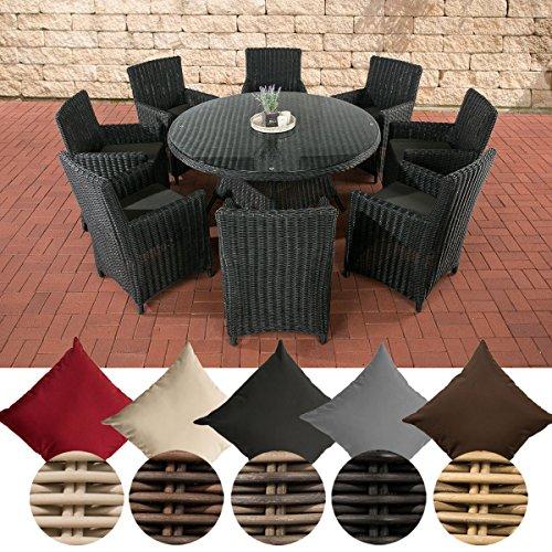 CLP Gartengarnitur Larino XL I Sitzgruppe: Mit 8 Sitzplätzen I Pflegeleichtes Gartenmöbel-Set Aus Polyrattan Mit Aluminium-Untergestell, Farbe:schwarz, Polsterfarbe:Anthrazit