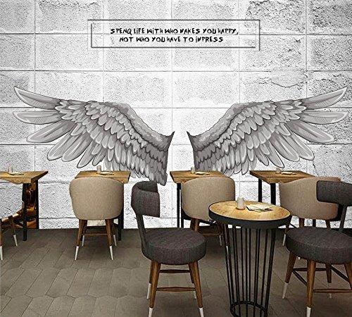 Yosot Benutzerdefinierte Wandbild Engel Flügel Zement 3D Tapeten Berufsbekleidung Hintergrund Wandmalerei Arbeitszimmer Dekorative Tapete-300Cmx210Cm