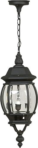 "Craftmade Z331-TB French Style Outdoor Ceiling Pendant Lighting, 3-Light 180 Watt (8""W x 22""H), Matte Black"