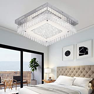 Crystal Close to Ceiling Light Fixtures Morden LED Flush Mount Lighting 14.2-Inch Dimmable Square Glass Ceiling Lamp 1980LM 4000K Contemporary Crystal Chandelier for Hallway Kitchen Cloakroom