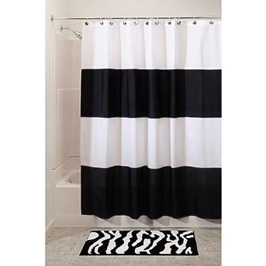 "InterDesign Zeno Water Repellent Shower Curtain, Modern Black & White Stripes, 108"" x 72"", Extra Wide - Mold/Mildew Resistant Design"