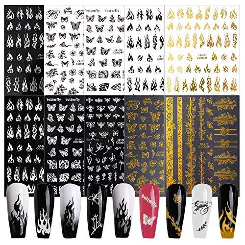 UFLF 10 Hojas Pegatinas Uñas Decorativas Mariposas+Llama Nail Art Stickers Calcomanías Uñas Adhesivas Etiquetas Engomadas para Decoración Diseños Manicura Arte de Uñas DIY