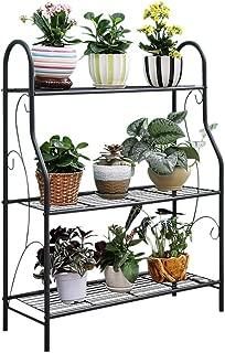 MORITIA 3 Tier Metal Plant Stand Scrollwork Design Indoor and Outdoor Flower Rack, Home Storage Organizer Shelf, 27.9