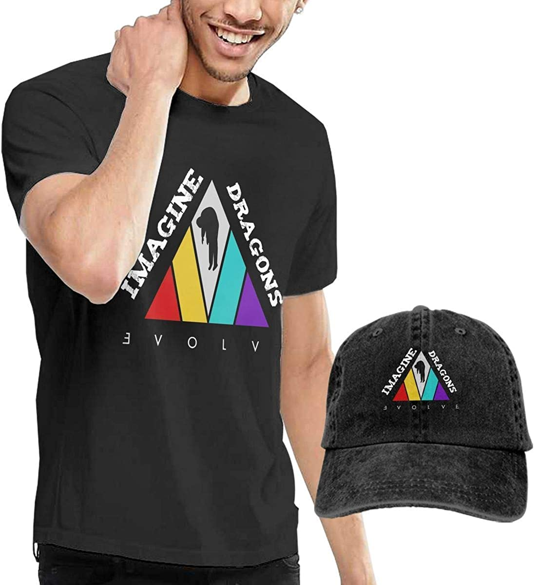 SOTTK Camisetas y Tops Hombre Polos y Camisas,t-Shirts, Tees, Imagine-Dragons-Evolve Mens Cotton T-Shirt with Round Collar with Adjustable Baseball ...