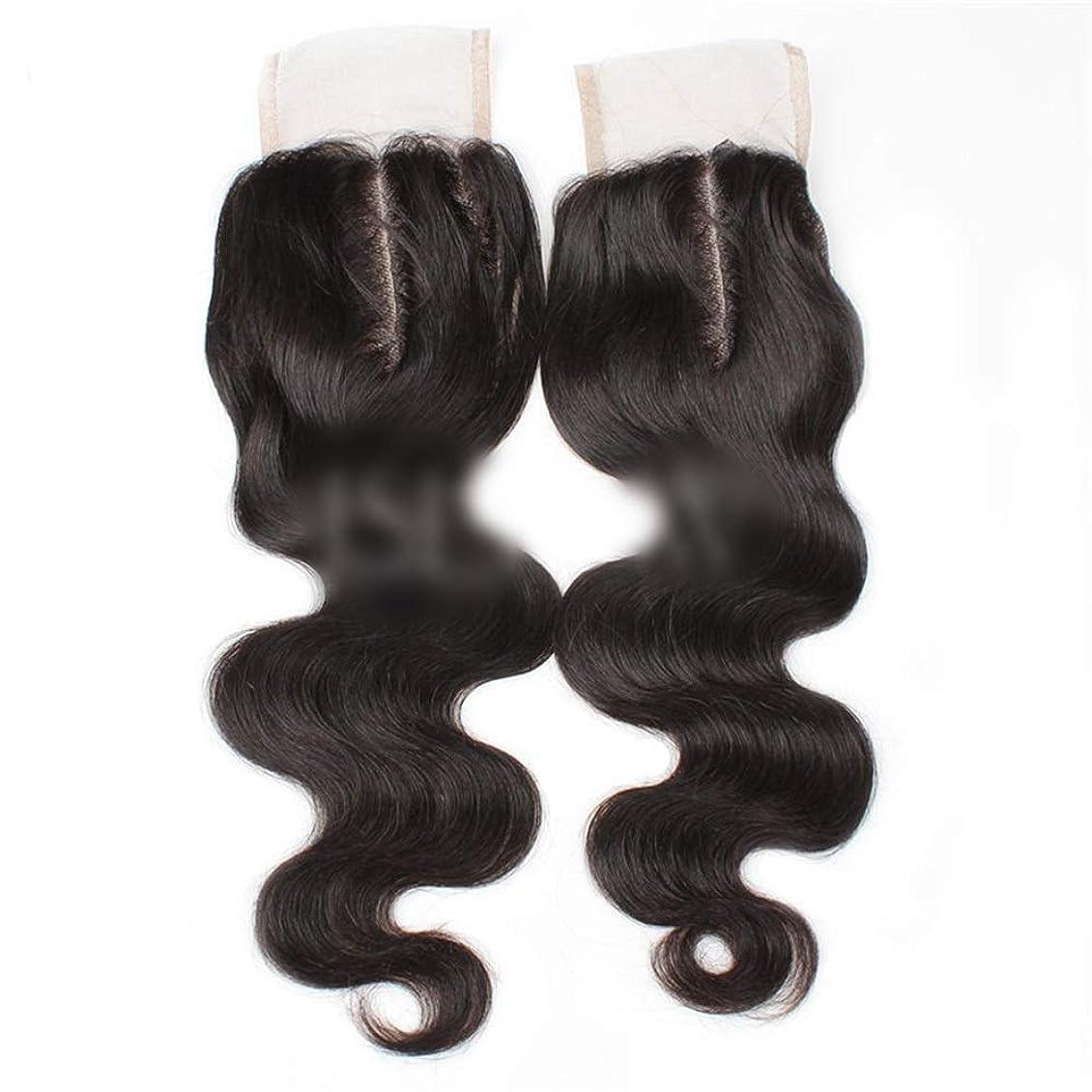 ブランド名ビクター商業のBOBIDYEE 9aブラジル髪実体波中間部4×4レース閉鎖人間の髪の毛ナチュラルブラック8