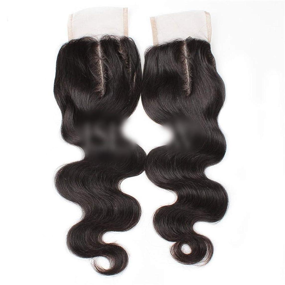 観客平行インタネットを見るYESONEEP 9aブラジル髪実体波中間部4×4レース閉鎖人間の髪の毛ナチュラルブラック8