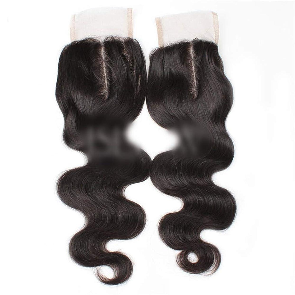 グリル付与プレゼンテーションBOBIDYEE 9aブラジル髪実体波中間部4×4レース閉鎖人間の髪の毛ナチュラルブラック8
