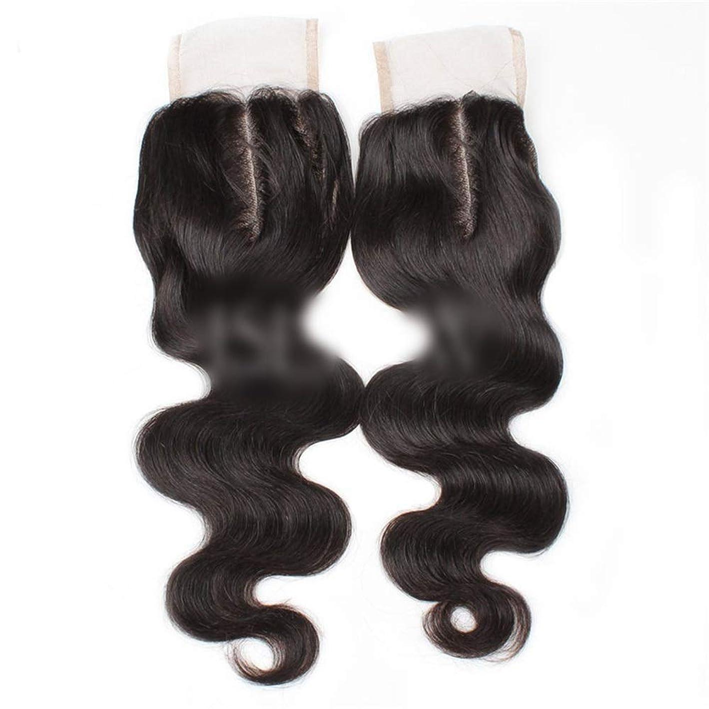 うるさいチャネルアジア人YESONEEP 9aブラジル髪実体波中間部4×4レース閉鎖人間の髪の毛ナチュラルブラック8