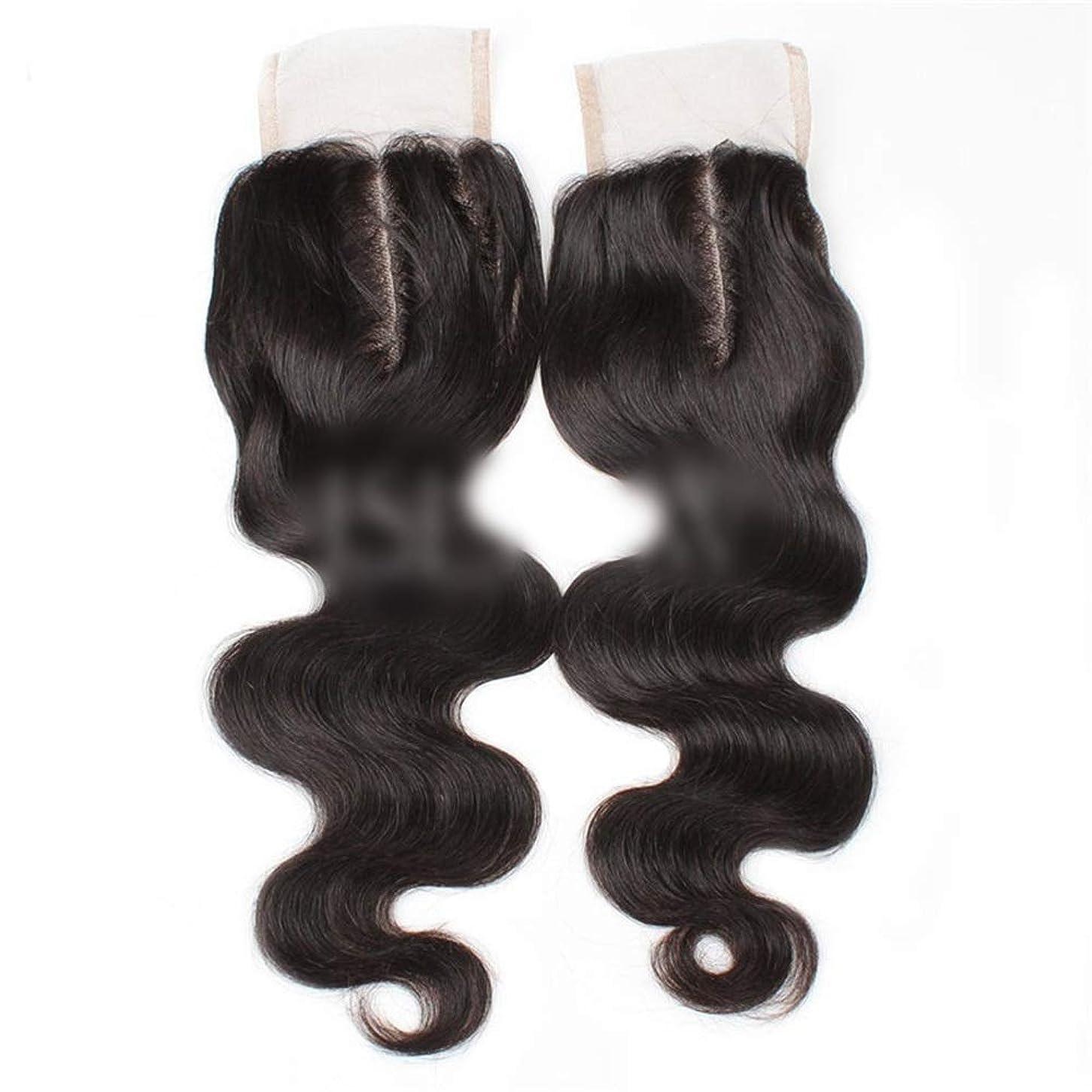 大工伝統的シャーロットブロンテBOBIDYEE 9aブラジル髪実体波中間部4×4レース閉鎖人間の髪の毛ナチュラルブラック8