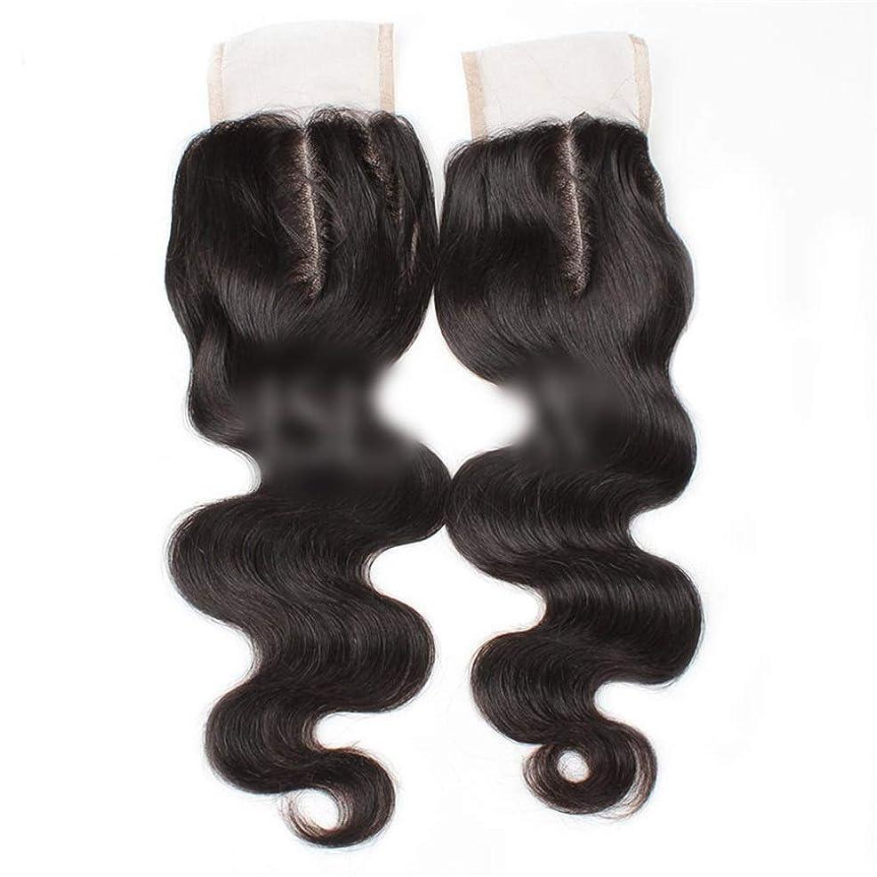 セメントブレーキアラバマBOBIDYEE 9aブラジル髪実体波中間部4×4レース閉鎖人間の髪の毛ナチュラルブラック8