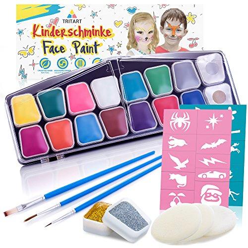 Set de Maquillaje Profesional para niños 42 piezas I pintura de maquillaje soluble en agua I esponjas GRATIS de Tritart