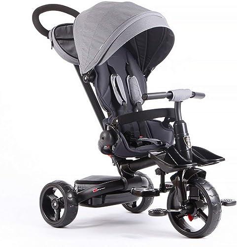 FAMILI DA Kinderwagen Faltbare Kinder Kinder Trike Dreirad - 4 Stufen Schwarz Grau, Grün, Orange, Lila Für Neugeborene (Farbe   Grau)-Grau