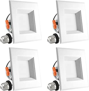 Luxrite 4 Inch Square LED Recessed Light, 10W (60W Equivalent), 4000K Cool White, 670 Lumens, Dimmable, Retrofit LED Can Light, Energy Star & UL, Damp Rated - Perfect for Kitchen and Bathroom (4 Pack)