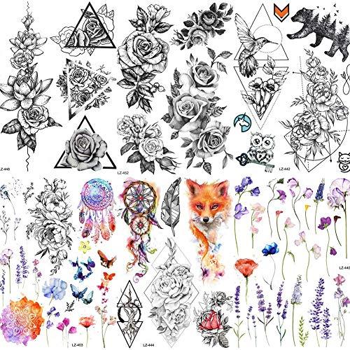 COKTAK 6 Hojas Gran Flor 3D Rosa Tatuajes Temporales Pegatinas Para Mujeres Chicas Sexy Arte Corporal Brazo Largo Piernas Tatuaje Lavanda Negro Adulto Geométrico Tatuaje Daisy Peony Flores Tattoos