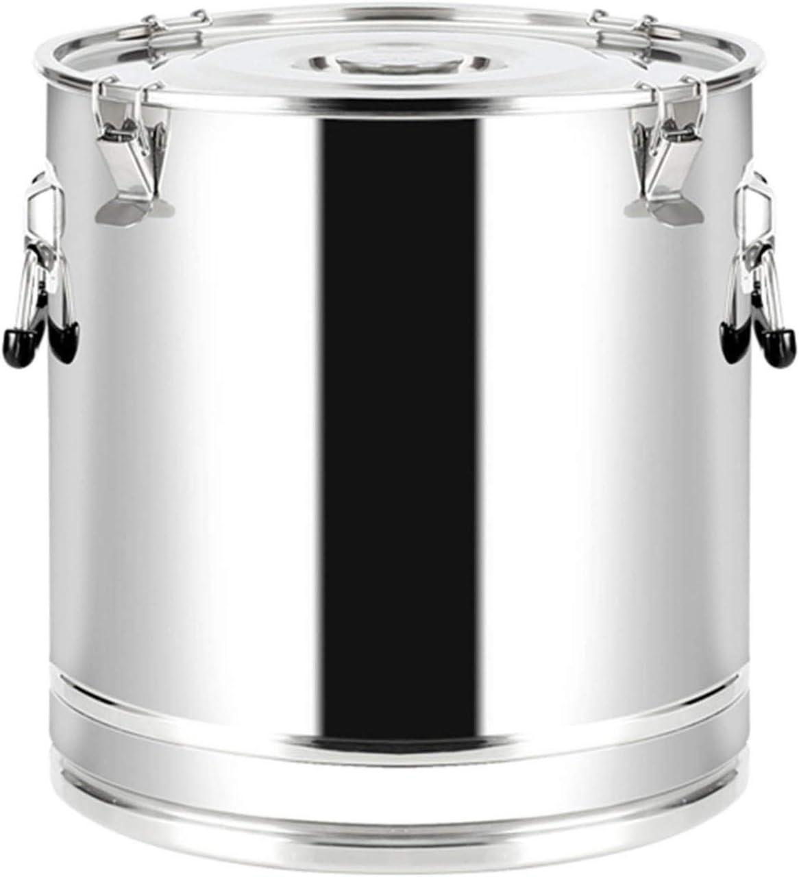 Gran cubo de ollas de bolsa con tapa de acero inoxidable Almacenamiento de cocina Buñuelos de aceite para la harina y el transporte de azúcar Barril de barril engrosado de la tapa del cilindro de la t