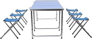 comprar comparacion HOMFA Mesa plegable camping Mesa playa Mesa de jardín Mesa para picnic con 6 sillas ajustables Mesa para acampada Azul 180...