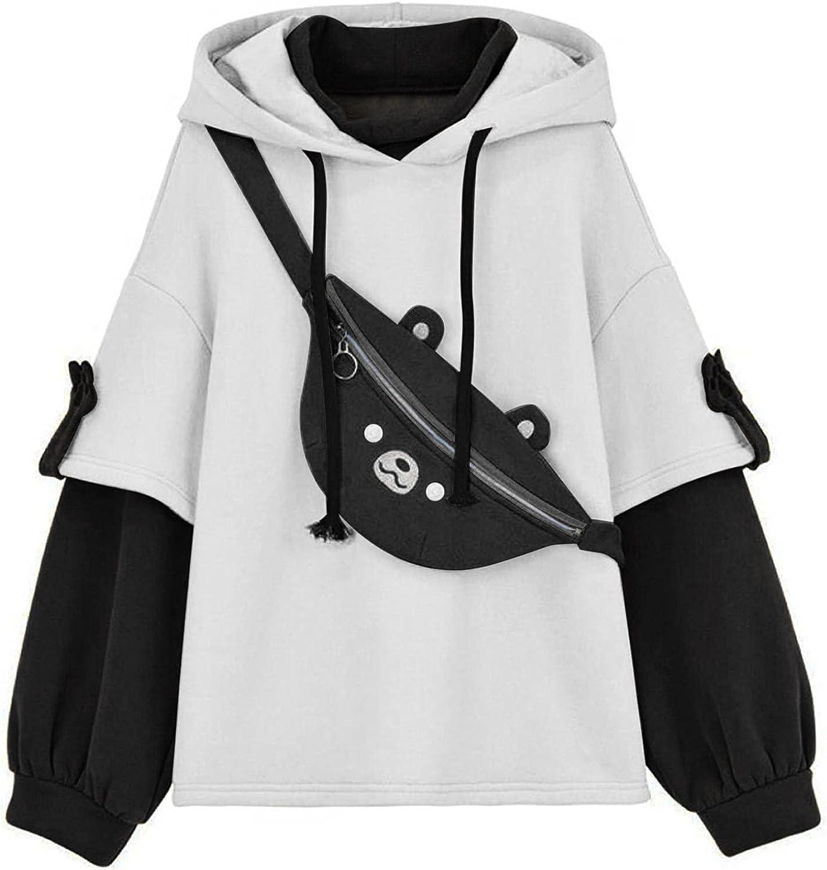 Woman's Cute Brown Bear Hoodie Sweatshirts Teen Girl Casual Fashion Long Sleeve Color Block Hooded with Zipper Bag