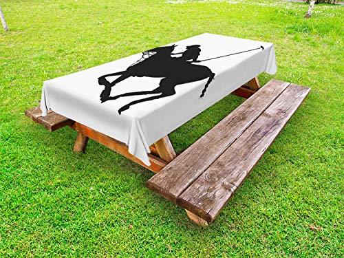 ABAKUHAUS Sport Tafelkleed voor Buitengebruik, Speler van het Polo Silhouet van het Paard, Decoratief Wasbaar Tafelkleed voor Picknicktafel, 58 x 84 cm, Grijs en Witte Houtskool