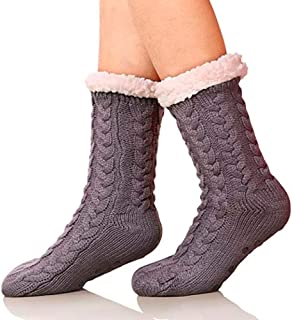 ELLITE Womens Super Soft Cable Knit Fuzzy Cozy Fleece lined Warm Non-Skid Winter Slipper Socks