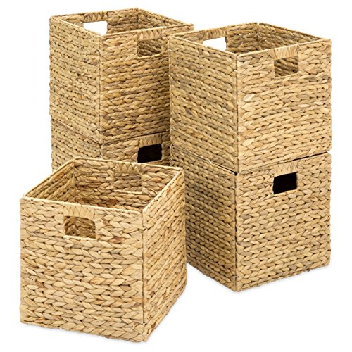 Best Choice Products Rustic Set Of 5 Multipurpose Collapsible Hyacinth Storage Basket, Handwoven Rectangular Laundry Organizer Totes for Bedroom, Living Room, Bathroom, Shelves, Pantry w/Insert