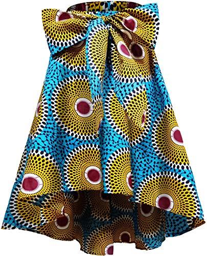 Shenbolen Women African Traditional Costume Flower Print Casual Dashiki Skirt (Large,K)