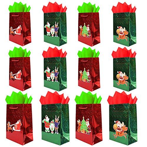HOWAF 12 Stück Weihnachten Geschenktaschen, Weihnachten Geschenktüten mit Griff, Weihnachten papiertüten, Süßigkeiten Tüten, für Weihnachts Geschenke Kindergeburtstag Mitgebsel Hochzeit Party