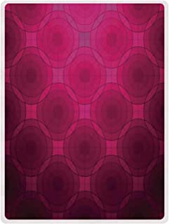 YOLIYANA Magenta Decor Useful Flannel Blanket,Disc Shaped Fluid Dynamics Circular Spherical Forms Whirls Rings Print Image for Spring,59