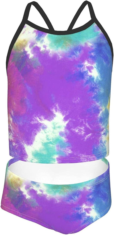 Girls' Beach Swimsuits Rainbow Cow Tankini Sets 2-Pc Sling Bathing Suit 7-16 Years