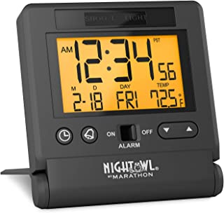Marathon Atomic Travel Alarm Clock with Auto Back Light Feature, Calendar and..