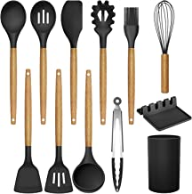 MegiKio Silicone Kitchen Utensils Cooking Set-11PCS Kitchen Utensils Set with Wooden Handles-Include Turner Tongs Spatula ...