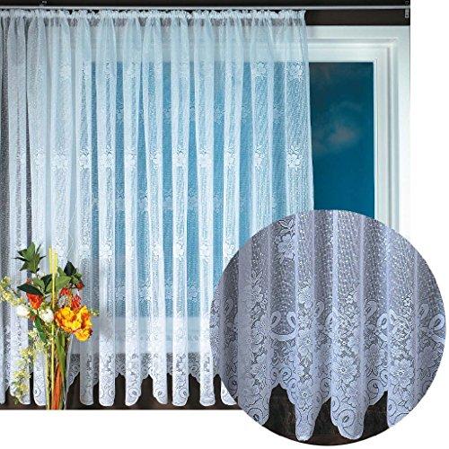 Gardine Jacquard Universalband Spitzenoptik Vorhang Blumenmuster weiß, Auswahl: 500 x 175 cm, Design: Svenja