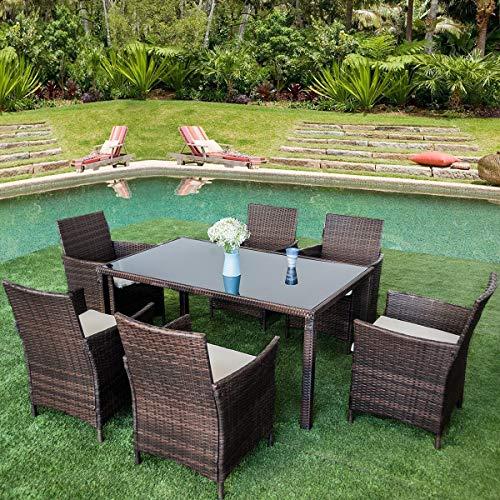 SKINOWN Leisure Zone Juego de mesa de comedor y sillas para exteriores, 7 piezas, con parte superior de cristal rectangular, resistente a la intemperie, ratán, patio, jardín de jardín (marrón)