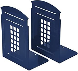 2 Pieces Bookends Blue, Heavy Metal Non Skid Sturdy Telephone Booth Decorative Gift for Bookshelf Office School Library (B...