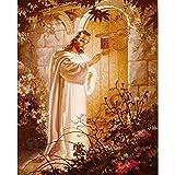 Dicksons Jesus Knocking at Heart's Door Golden Garden Hues 8 x 10 Wood Wall Sign Plaque