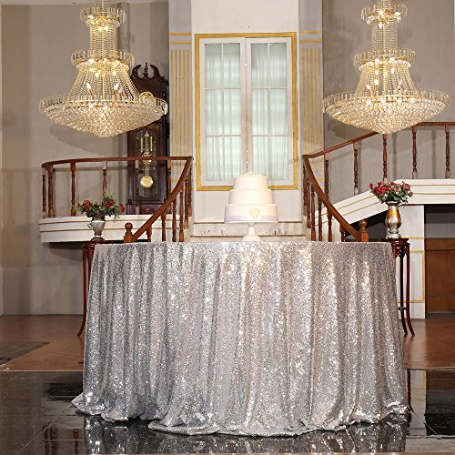 """PartyDelight Sequin Tablecloth, Christmas Tree Skirt, Round, 50"""", Silver"""