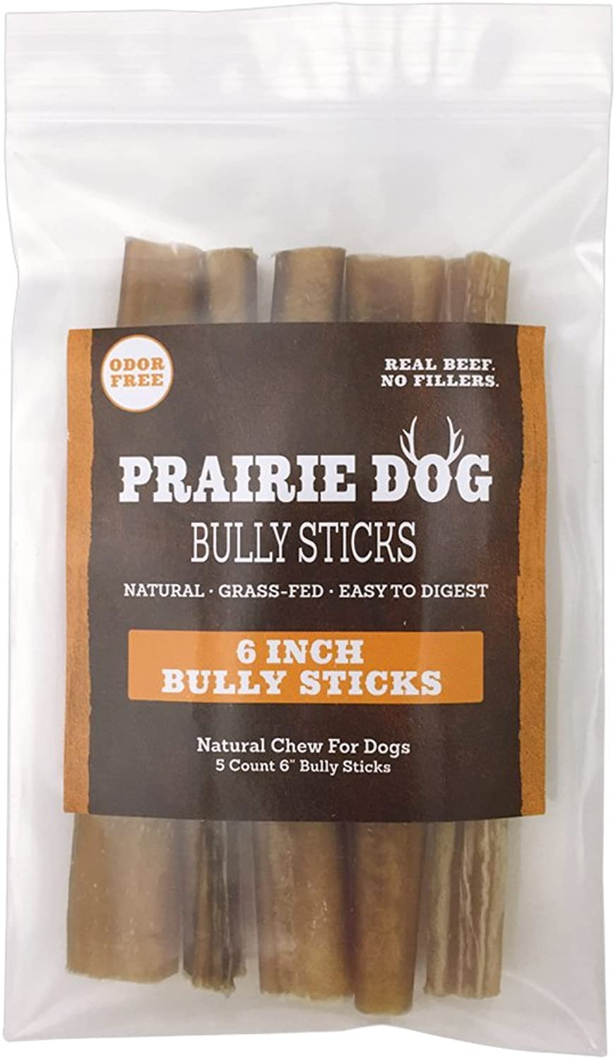 Prairie Dog Pet Products 5 Count Odor Free Bully Sticks, 6