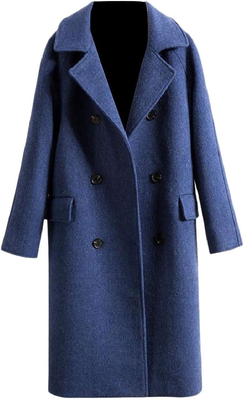 Doanpa Women Baggy Style Double Breasted Slim Lapel Casual Wool Coat