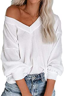 HOUJ Women's Long Sleeve Loose Fit V-Neck Casual T-Shirts Blouse Tops