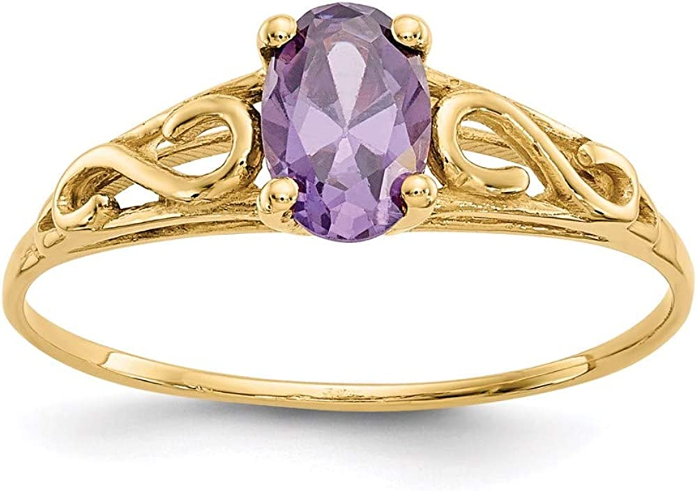 14k Yellow Gold Synthetic Purple Amethyst Band Ring Size 5.00 Baby Fine Jewelry For Women Gifts For Her