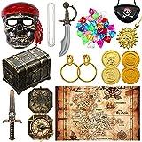 Accesorios de Disfraz de Pirata Incluye Juguete de Cofre de Tesoro Pirata Parche...