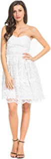 Joeoy Women's Floral Lace Sweetheart Bodice Strapless Fit and Flare Short Dress