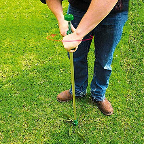 Homthia Standing Plant Root Remover, 3 Claws Stand Up Weed Puller Garden Hand Tool with 39