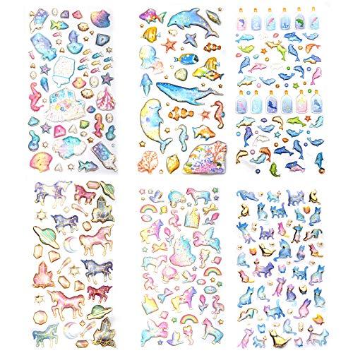 SAVITA 3D-Aufkleber für Kinder, 300+ Puffy-Aufkleber, 6 Verschiedene Blätter, Epoxy-Aufkleber für Scrapbooking, einschließlich Katzen, Delfine, Einhorn