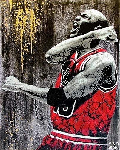IOIP Tela De Lienzo 30x50cm Sin Marco Tankaa Great Basketball Sports NBA Super Star Player Kobe Bulls Michael Jordan Slam Dunk Roar Fist Arte de la Pared Póster Sala de Estar Ventiladores Dormitorio